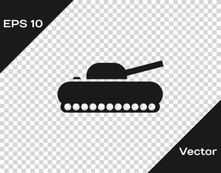 Grey Military tank icon isolated on transparent background. Vector Illustration