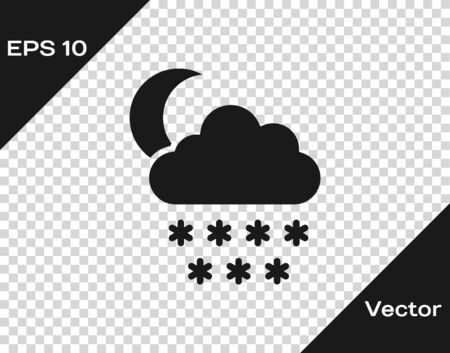 Grey Cloud with snow and moon icon isolated on transparent background. Cloud with snowflakes. Single weather icon. Snowing sign. Vector Illustration