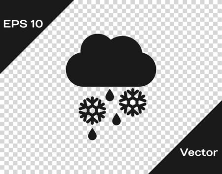 Grey Cloud with snow, rain and moon icon isolated on transparent background. Weather icon. Vector Illustration