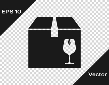Grey Delivery package box with fragile content symbol of broken glass icon isolated on transparent background. Box, package, parcel sign. Vector Illustration Standard-Bild - 133593871