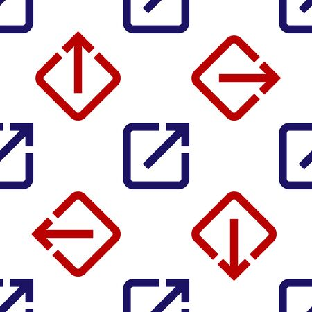 Blue and red Open in new window icon isolated seamless pattern on white background. Open another tab button sign. Browser frame symbol. External link sign. Vector Illustration Vector Illustratie
