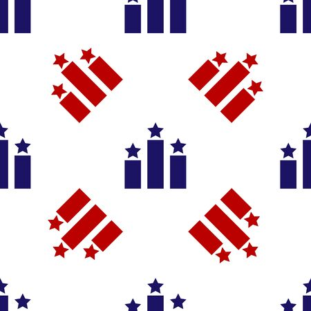 Blue and red Ranking star icon isolated seamless pattern on white background. Star rating system. Favorite, best rating, award symbol. Vector Illustration Ilustrace