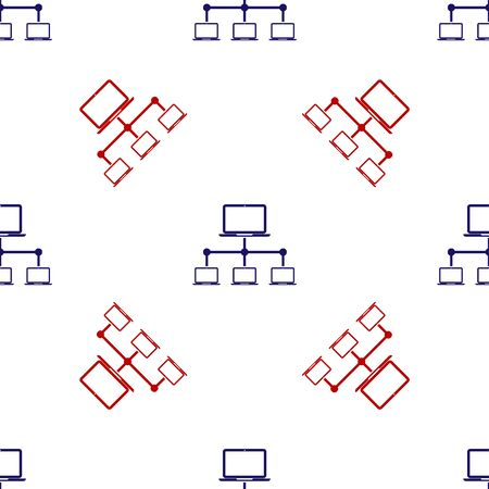 Blue and red Computer network icon isolated seamless pattern on white background. Laptop network. Internet connection. Vector Illustration