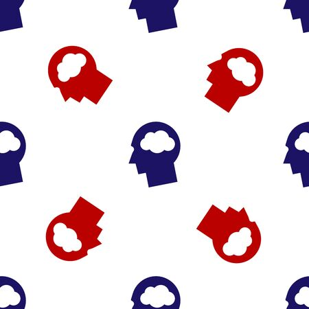 Blue and red Head silhouette with cloud icon isolated seamless pattern on white background. Dreaming sign. Vector Illustration