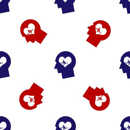 Blue and red Male head with a heartbeat icon isolated seamless pattern on white background. Head with mental health, healthcare and medical sign. Vector Illustration