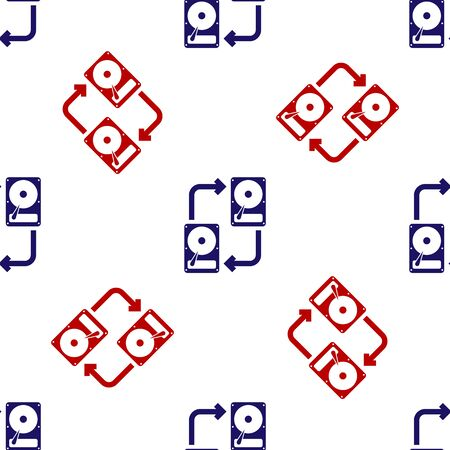 Blue and red A fixed data storage device hard disk with arrows, data copy icon isolated seamless pattern on white background. Data exchange with hard disk drive. Vector Illustration