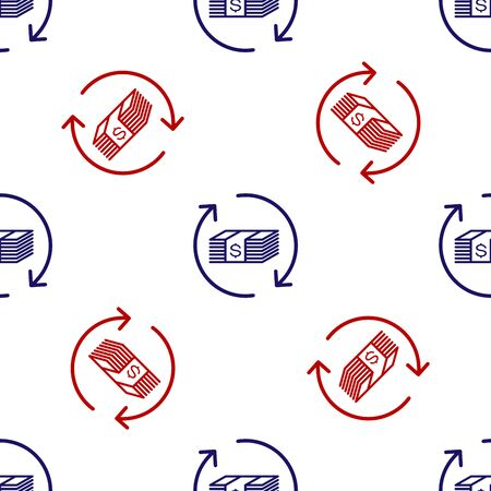 Blue and red Refund money icon isolated seamless pattern on white background. Financial services, cash back concept, money refund, return on investment, savings account. Vector Illustration Ilustração