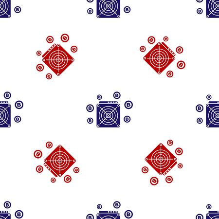 Blue and red ASIC Miner icon isolated seamless pattern on white background. Cryptocurrency mining equipment and hardware. Application specific integrated circuit. Vector Illustration Reklamní fotografie - 133627468