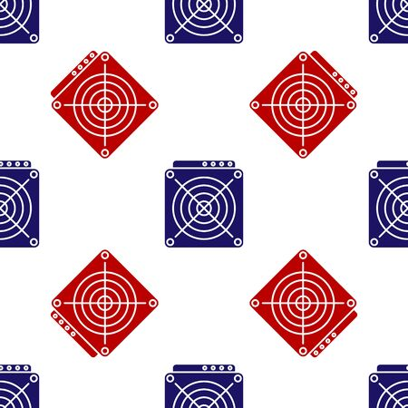 Blue and red ASIC Miner icon isolated seamless pattern on white background. Cryptocurrency mining equipment and hardware. Application specific integrated circuit. Vector Illustration Reklamní fotografie - 133627471
