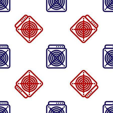 Blue and red ASIC Miner icon isolated seamless pattern on white background. Cryptocurrency mining equipment and hardware. Application specific integrated circuit. Vector Illustration Reklamní fotografie - 133627473