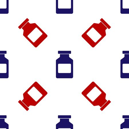 Blue and red Medicine bottle icon isolated seamless pattern on white background. Bottle pill sign. Pharmacy design. Vector Illustration Ilustração