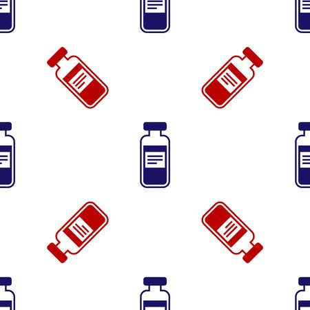 Blue and red Medical vial, ampoule, bottle icon isolated seamless pattern on white background. Vaccination, injection, vaccine healthcare concept. Vector Illustration