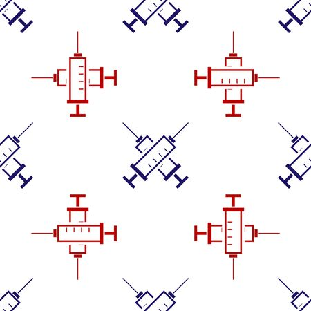 Blue and red Crossed syringe icon isolated seamless pattern on white background. Syringe for vaccine, vaccination, injection, flu shot. Medical equipment. Vector Illustration