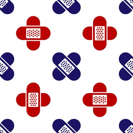 Blue and red Crossed bandage plaster icon isolated seamless pattern on white background. Medical plaster, adhesive bandage, flexible fabric bandage. Vector Illustration