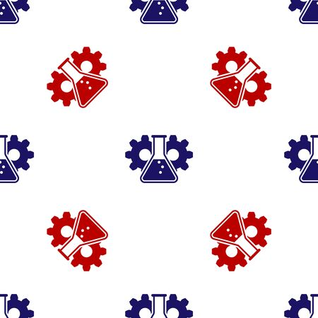 Blue and red Bioengineering icon isolated seamless pattern on white background. Element of genetics and bioengineering icon. Biology, molecule, chemical icon. Vector Illustration Stok Fotoğraf - 133627526