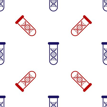 Blue and red DNA research, search icon isolated seamless pattern on white background. Genetic engineering, genetics testing, cloning, paternity testing. Vector Illustration