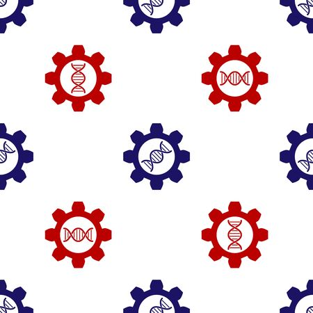 Blue and red Genetic engineering icon isolated seamless pattern on white background. DNA analysis, genetics testing, cloning, paternity testing. Vector Illustration Çizim