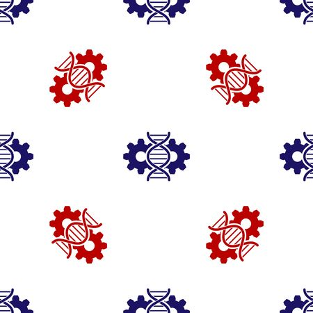 Blue and red Gene editing icon isolated seamless pattern on white background. Genetic engineering. DNA researching, research. Vector Illustration Ilustração