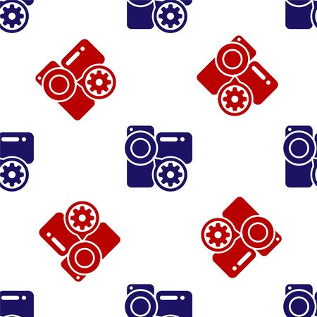 Blue and red Video camera and gear icon isolated seamless pattern on white background. Adjusting app, service concept, setting options, maintenance, repair, fixing. Vector Illustration  イラスト・ベクター素材