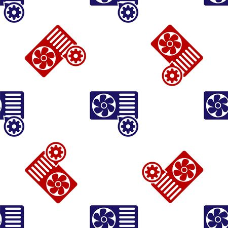 Blue and red Air conditioner and gear icon isolated seamless pattern on white background. Adjusting app, service concept, setting options, maintenance, repair, fixing. Vector Illustration Ilustração