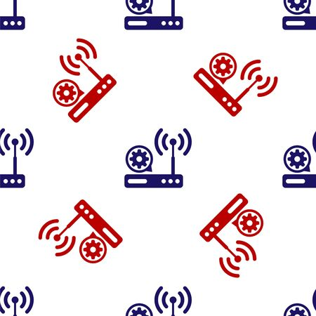 Blue and red Router and wi-fi signal and gear icon isolated seamless pattern on white background. Adjusting app, service concept, setting options, maintenance, repair, fixing. Vector Illustration