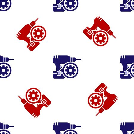 Blue and red Drill machine and gear icon isolated seamless pattern on white background. Adjusting app, service concept, setting options, maintenance, repair, fixing. Vector Illustration