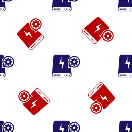Blue and red Power bank and gear icon isolated seamless pattern on white background. Adjusting app, service concept, setting options, maintenance, repair, fixing. Vector Illustration