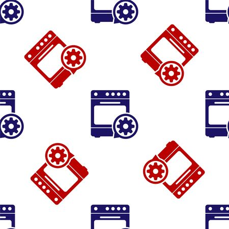Blue and red Oven and gear icon isolated seamless pattern on white background. Adjusting app, service concept, setting options, maintenance, repair, fixing. Vector Illustration  イラスト・ベクター素材