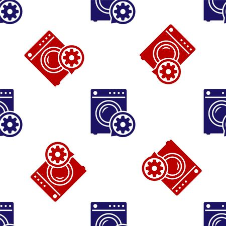 Blue and red Washer and gear icon isolated seamless pattern on white background. Adjusting app, service concept, setting options, maintenance, repair, fixing. Vector Illustration