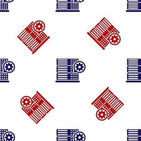 Blue and red Server and gear icon isolated seamless pattern on white background. Adjusting app, service concept, setting options, maintenance, repair, fixing. Vector Illustration  イラスト・ベクター素材