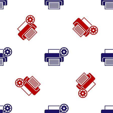Blue and red Printer and gear icon isolated seamless pattern on white background. Adjusting app, service concept, setting options, maintenance, repair, fixing. Vector Illustration