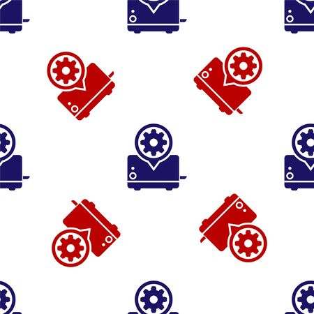 Blue and red Toaster and gear icon isolated seamless pattern on white background. Adjusting app, service concept, setting options, maintenance, repair, fixing. Vector Illustration  イラスト・ベクター素材