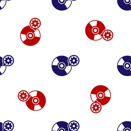 Blue and red CD or DVD disk and gear icon isolated seamless pattern on white background. Adjusting app, service concept, setting options, maintenance, repair, fixing. Vector Illustration