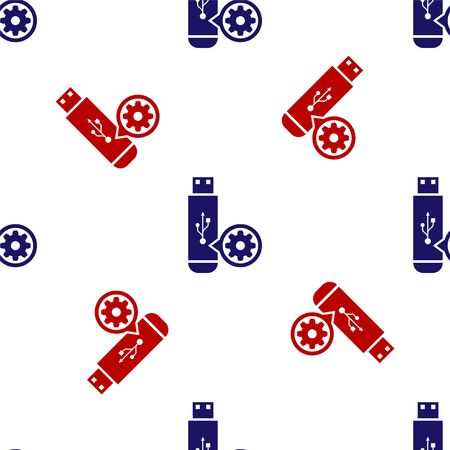 Blue and red USB flash drive and gear icon isolated seamless pattern on white background. Adjusting app, service concept, setting options, maintenance, repair, fixing. Vector Illustration