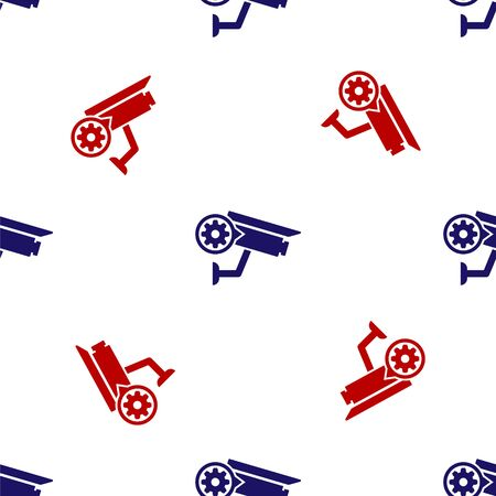 Blue and red Security camera and gear icon isolated seamless pattern on white background. Adjusting app, service concept, setting options, maintenance, repair, fixing. Vector Illustration