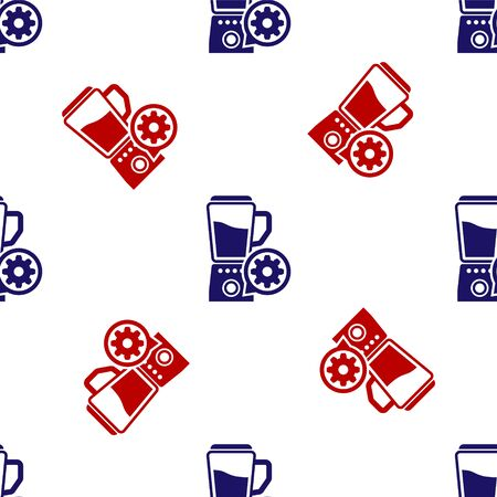 Blue and red Blender with bowl and gear icon isolated seamless pattern on white background. Adjusting app, service concept, setting options, maintenance, repair, fixing. Vector Illustration