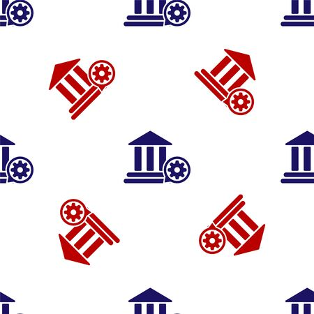 Blue and red Bank building and gear icon isolated seamless pattern on white background. Adjusting app, service concept, setting options, maintenance, repair, fixing. Vector Illustration