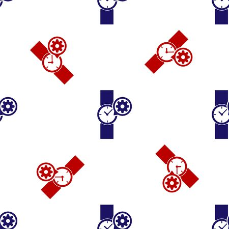 Blue and red Wrist watch and gear icon isolated seamless pattern on white background. Adjusting app, service concept, setting options, maintenance, repair, fixing. Vector Illustration