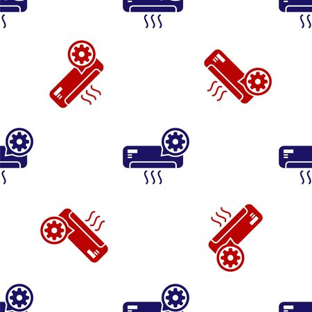 Blue and red Air conditioner and gear icon isolated seamless pattern on white background. Adjusting app, service concept, setting options, maintenance, repair, fixing. Vector Illustration  イラスト・ベクター素材