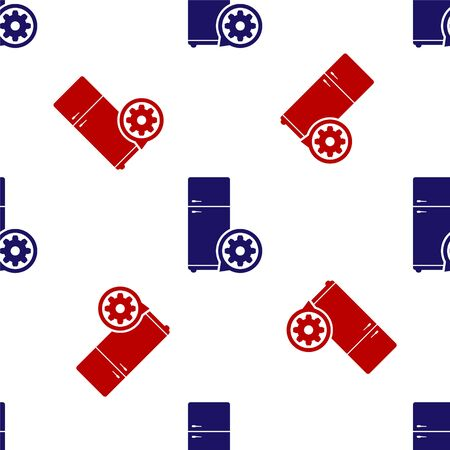 Blue and red Refrigerator and gear icon isolated seamless pattern on white background. Adjusting app, service concept, setting options, maintenance, repair, fixing. Vector Illustration  イラスト・ベクター素材