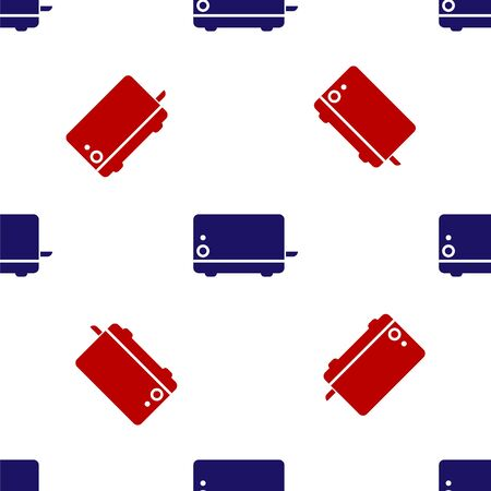Blue and red Toaster icon isolated seamless pattern on white background. Vector Illustration