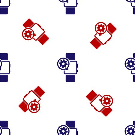 Blue and red Smartwatch and gear icon isolated seamless pattern on white background. Adjusting app, service concept, setting options, maintenance, repair, fixing. Vector Illustration