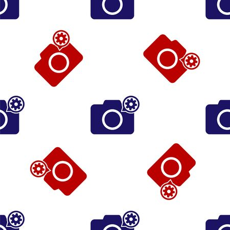 Blue and red Photo camera and gear icon isolated seamless pattern on white background. Adjusting app, service concept, setting options, maintenance, repair, fixing. Vector Illustration