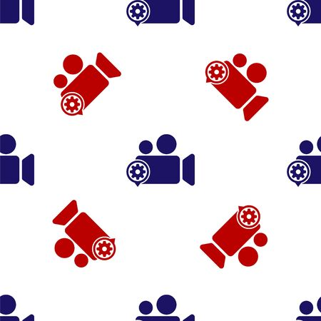 Blue and red Movie or Video camera and gear icon isolated seamless pattern on white background. Adjusting app, service concept, setting options, maintenance, repair, fixing. Vector Illustration