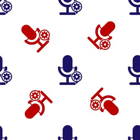 Blue and red Microphone and gear icon isolated seamless pattern on white background. Adjusting app, service concept, setting options, maintenance, repair, fixing. Vector Illustration