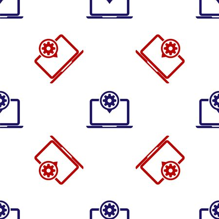 Blue and red Laptop and gear icon isolated seamless pattern on white background. Laptop service concept. Adjusting app, setting options, maintenance, repair, fixing. Vector Illustration