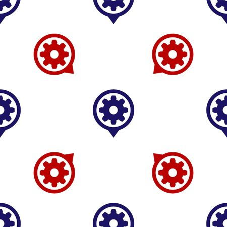 Blue and red Setting icon isolated seamless pattern on white background. Tools, service, cog, gear, cogwheel sign. Vector Illustration