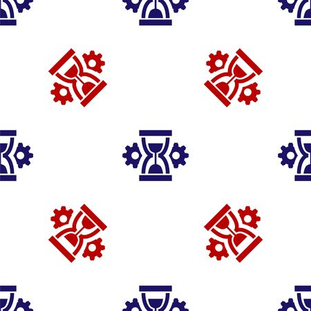 Blue and red Hourglass and gear icon isolated seamless pattern on white background. Time Management symbol. Clock and gear icon. Productivity symbol. Vector Illustration