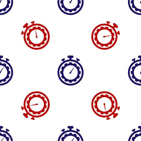 Blue and red Time Management icon isolated seamless pattern on white background. Clock and gear sign. Productivity symbol. Vector Illustration  イラスト・ベクター素材