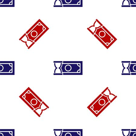 Blue and red Fast payments icon isolated seamless pattern on white background. Fast money transfer payment. Financial services, fast loan, time is money, cash back concept. Vector Illustration Ilustracja